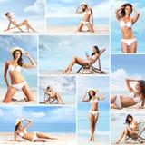 Junge und sexy Frauen auf dem Strand Lizenzfreie Stockfotografie