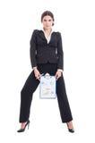 Junge und sexy Verkaufsfrau, die wachsende Gewinndiagramme zeigt Lizenzfreies Stockfoto