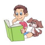 Junge und Welpe, die ein Buch lesen Stockfotos