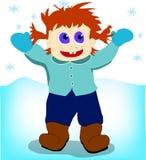 Junge unter dem Schnee Stockfoto