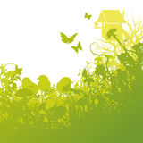 Junge Vögel und Vogelhaus vektor abbildung