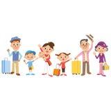 Junge vierköpfige Familie auf tropischem Strand des weißen Sandes Lizenzfreies Stockbild