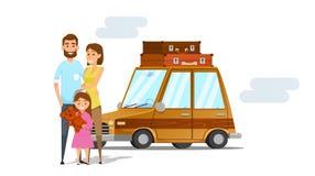 Junge vierköpfige Familie auf tropischem Strand des weißen Sandes Glückliche Familie, die Ferien im braunen Auto anstrebt V Lizenzfreies Stockfoto