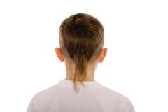Junge von acht Jahren von der Rückseite Stockbild