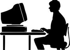 Junge vor Computer Stockbilder