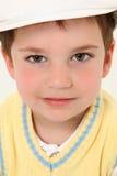 Junge in weißem Kangol Stockfoto