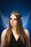 Junge weibliche Elfenprinzessin mit feenhaften Flügeln Stockfotos