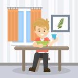 Junge zu Hause lizenzfreie abbildung