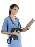 Jungekrankenschwesterpraktiker bereit, wesentliches zu nehmen Stockfotos