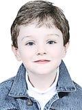 Jungen-Abbildung in der Denim-Jacke Stockfotografie