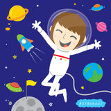 Jungen-Astronauten-Spaceman Cute Cartoon-Vektor-Design Lizenzfreies Stockbild