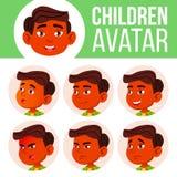 Jungen-Avatara-gesetzter Kindervektor Inder, Hindu Asiatisch Der Lehrer erlernt den Jungen, um zu lesen Stellen Sie Gefühle gegen vektor abbildung
