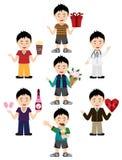 Jungen-Avatara mit verschiedenen Ausdrücken und Ausstattungen Stockfoto