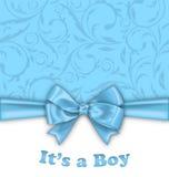 Jungen-Babyparty-Einladungs-Karte mit blauem Bogen lizenzfreie abbildung