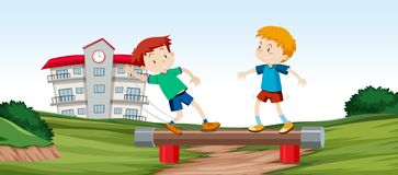 Jungen, die Balancenstange spielen lizenzfreie abbildung