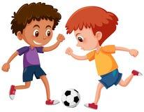 Jungen, die Fußball auf weißem Hintergrund spielen stock abbildung