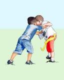 Jungen, die Fußball spielen stock abbildung