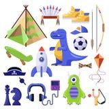 Jungen füllen, Spielwaren und persönliche Sachen an Vektor lokalisierte die eingestellten Ikonen lizenzfreie abbildung