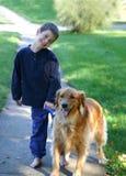 Jungen-gehender Hund Stockfotos