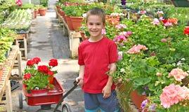 Jungen-kaufende Blumen Stockfotos
