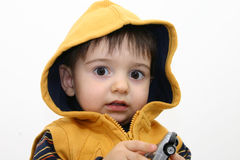 Jungen-Kind in der Fall-Kleidung stockfotografie
