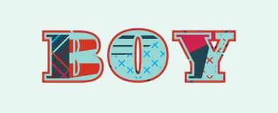 Jungen-Konzept-Wort Art Illustration Lizenzfreie Abbildung