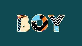 Jungen-Konzept-Wort Art Illustration Stock Abbildung