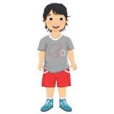 Jungen-lächelnde Vektor-Illustration lizenzfreie abbildung