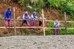 Jungen an Pferderennen der Allerheiligen, TODOS Santos, Guatemala Lizenzfreies Stockbild