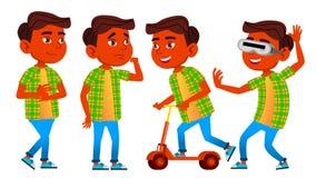 Jungen-Schüler-Kinderhaltungen eingestellter Vektor Inder, Hindu Asiatisch Schüler der Grundschule Ausbildung thema Schulkinder,  lizenzfreie abbildung
