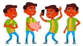 Jungen-Schüler-Kinderhaltungen eingestellter Vektor Inder, Hindu Asiatisch Schüler der Grundschule grundlegend auditorium Raum, B lizenzfreie abbildung