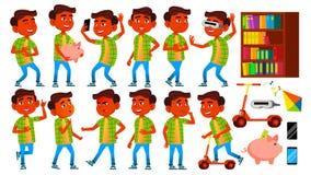 Jungen-Schüler-Kinderhaltungen eingestellter Vektor Inder, Hindu Asiatisch Schüler der Grundschule Kinder Lächeln Arbeitsplatz, T vektor abbildung
