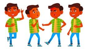 Jungen-Schüler-Kinderhaltungen eingestellter Vektor Inder, Hindu Asiatisch Schüler der Grundschule Netter Schüler Jugendlicher, K vektor abbildung