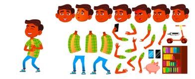 Jungen-Schüler-Kindervektor Schüler der Grundschule Animations-Schaffungs-Satz Nettes Kind Inder, Hindu Asiatisch für vektor abbildung