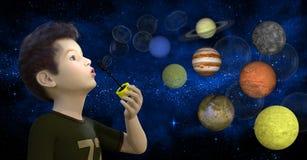 Jungen-Schlagblasen, Planeten, Sterne Stockbilder