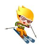 Jungen-Skifahren Stockbild