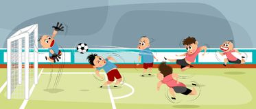 Jungen am Spielen des Fußballs stock abbildung