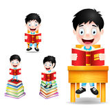 Jungen-Studenten-Character Reading Books-Vektor-Illustration Stockfoto