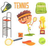 Jungen-Tennis-Spieler, Kinderzukünftige Traumberufsbesetzungs-Illustration mit in Verbindung stehendem mit Beruf-Gegenständen Stockfotografie