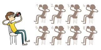 Jungen-trinkendes Schatten-Sichtbarmachungs-Spiel Stockfotos
