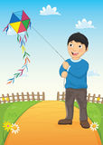 Jungen-und Drachen-Vektor-Illustration lizenzfreie abbildung