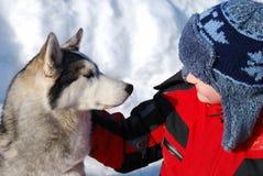 Jungen- und Haustierhund Stockfoto