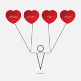 Jungen- und Herzballone mit Text Lizenzfreie Stockfotografie