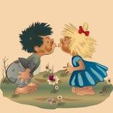 Jungen-und Mädchen-Küssen Stockfotos
