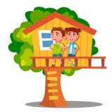 Jungen-und Mädchen-Kind, das auf Baum-Haus-Vektor spielt Getrennte Abbildung lizenzfreie abbildung