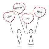 Jungen- und Mädchen- und Herzballone mit Text Stockbild