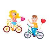 Jungen- und Mädchendatierung, Reiten fährt zusammen rad vektor abbildung