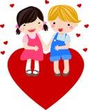 Jungen- und Mädchenfall in Liebe Stockbilder