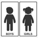 Jungen- und Mädchenikone Auch im corel abgehobenen Betrag Stockfotos