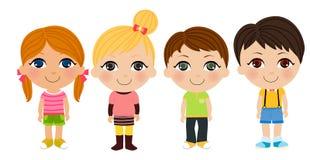 Jungen- und Mädchenkarikatursatz Lizenzfreies Stockbild